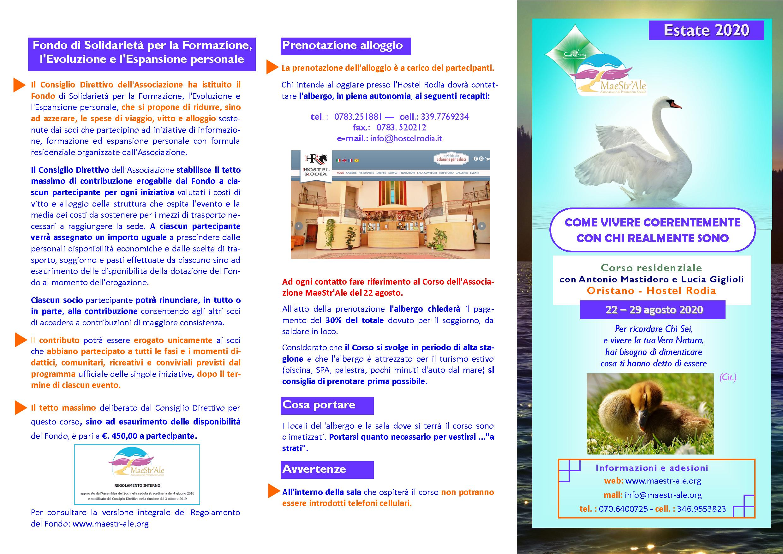 Brouchure Corso residenziale 2020 COME VIVERE COERENTEMENTE CON CHI REALMENTE SONO pag1