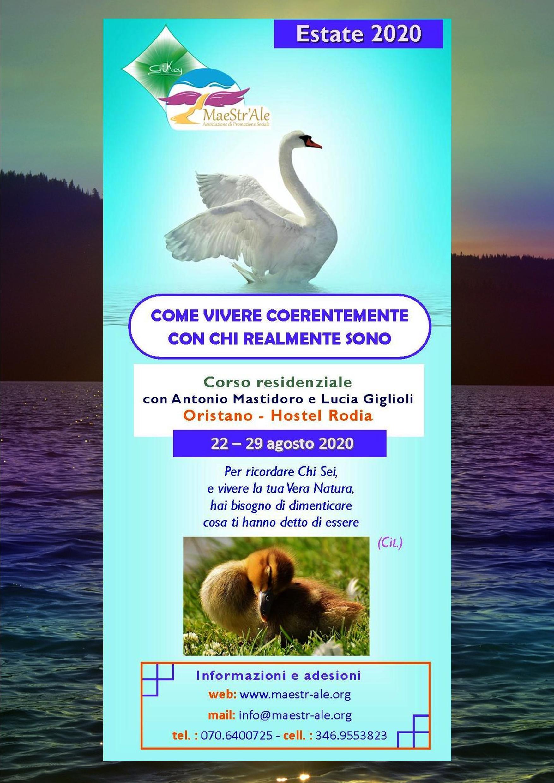 Locandina Corso residenziale 2020 - COME VIVERE COERENTEMENTE CON CHI REALMENTE SONO
